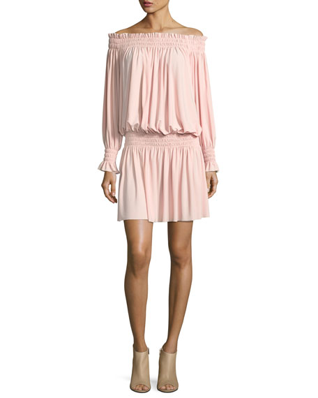 Norma Kamali Off-the-Shoulder Smocked-Neck Peasant Dress