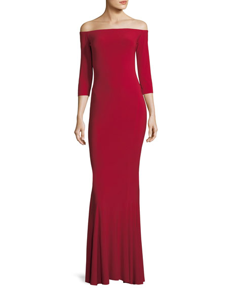 Off-the-Shoulder 3/4 Sleeve Fishtail Gown