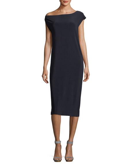 Drop-Shoulder Straight Cocktail Dress