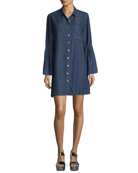 Parker Smith Denim Bell-Sleeve Shirtdress