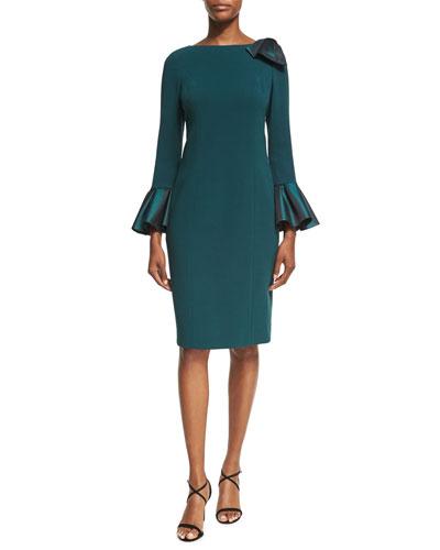 Bell-Sleeve Crepe Sheath Dress, Teal