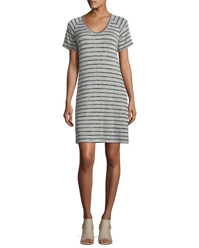 Scoop-Neck Raglan Striped Dress