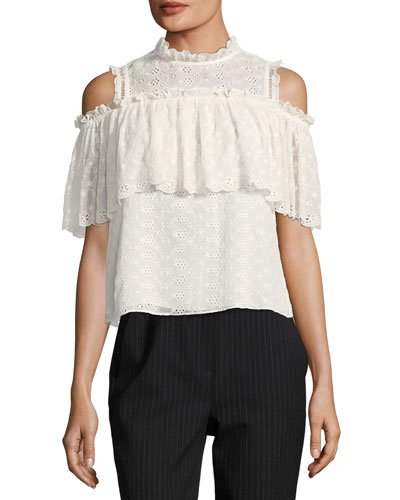 Cold-Shoulder Ruffled Eyelet Silk Top