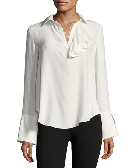 Norla Long-Sleeve Collard Silk Top