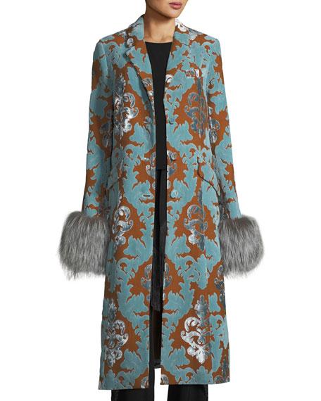 cinq a sept Ember Velvet Damask Long Coat