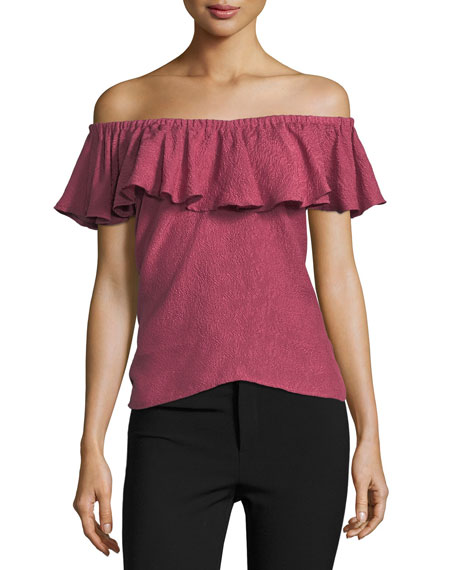 Off-the-Shoulder Rose Jacquard Top