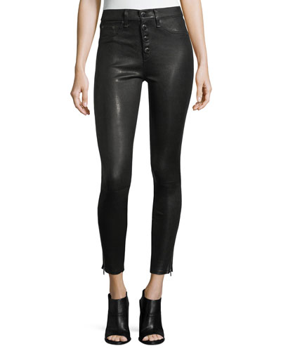 Ame Mid-Rise Button-Fly Skinny Leather Pants