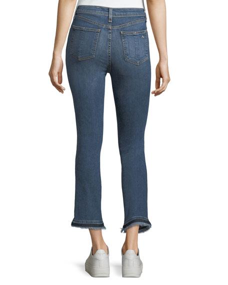 Hana High-Rise Cropped Boot Jeans w/ Frayed Hem