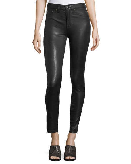 rag & bone/JEAN High-Rise Lamb Leather Skinny Pants