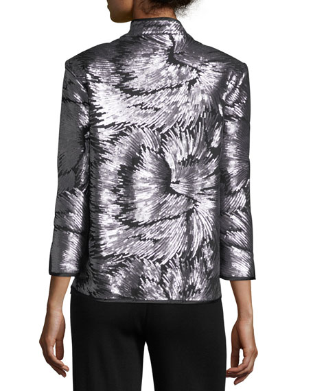 Sequin Burst Jacket, Silver/Black
