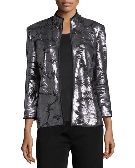 Misook Sequin Burst Jacket, Silver/Black