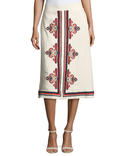 Florentina Embroidered Linen Midi Skirt