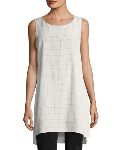 Sleeveless Plaid Twill Crepe Top