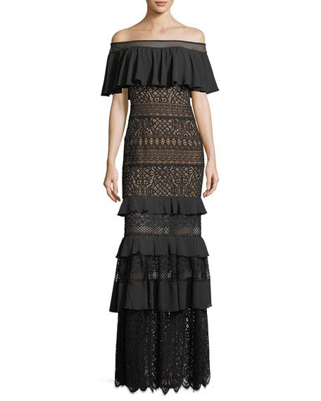 Tadashi Shoji Off-the-Shoulder Crochet Ruffle Evening Gown
