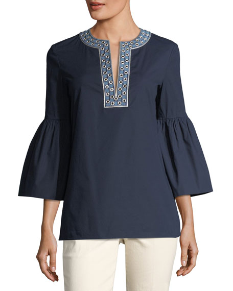 Tory Burch Ariana Embellished Bell-Sleeve Tunic