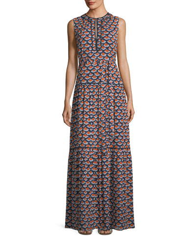Renata Sleeveless Printed Silk Maxi Dress