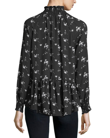 Floral-Print High-Neck Blouse