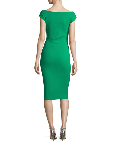 Fumiki Cap-Sleeve Ruched-Side Sheath Dress