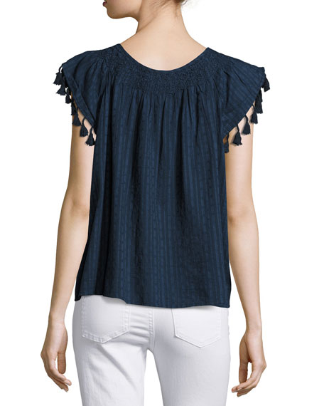 Flutter-Sleeve Tassel-Trim Top