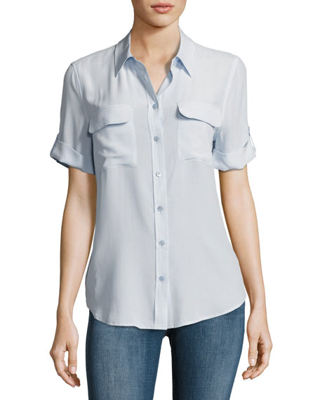 Equipment Short-Sleeve Slim Signature Silk Blouse, Light Blue