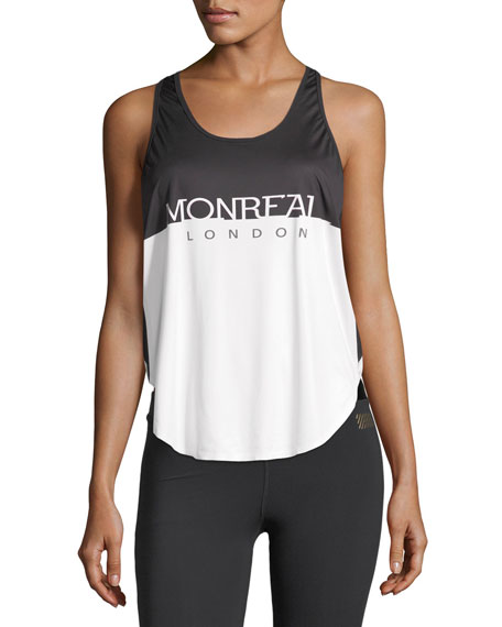 Monreal London Relay Scoop-Neck Logo Print Top