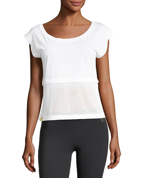 Monreal London Airstream Scoop-Neck Mesh Hem Top