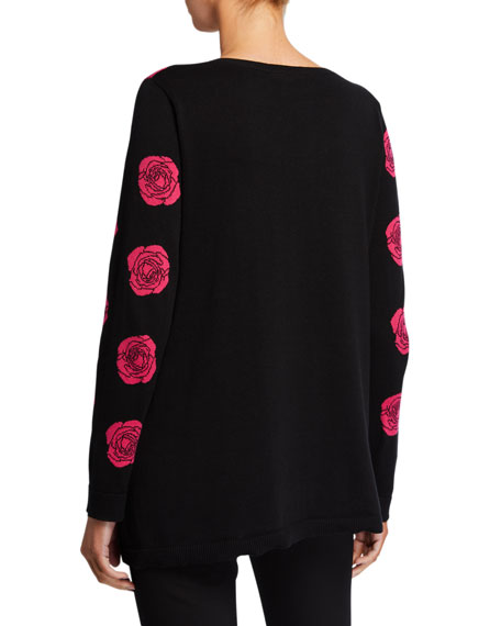 Falling Rose Intarsia Cotton Sweater