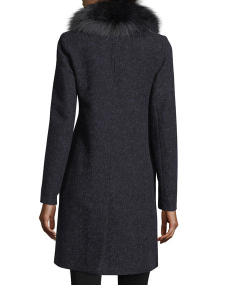 Double-Breasted Long-Sleeve Wool Coat w/ Fox Fur