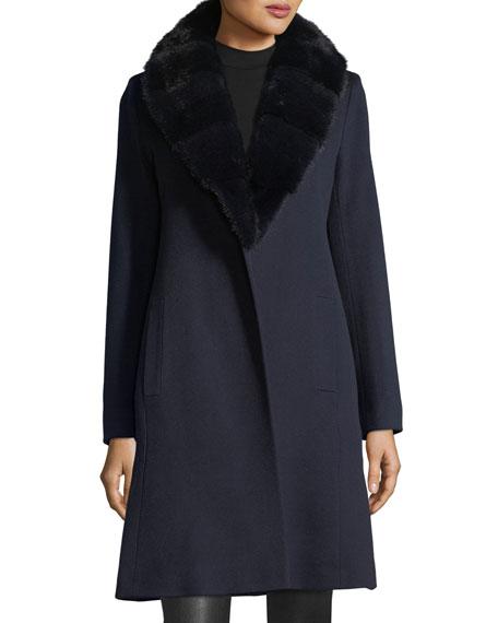 Wrap Coat with Mink Fur Collar