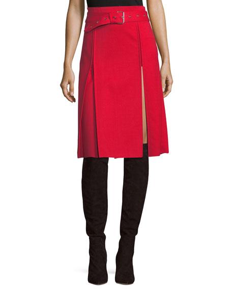Helmut Lang Kilt High-Waist Belted A-Line Pleated Skirt