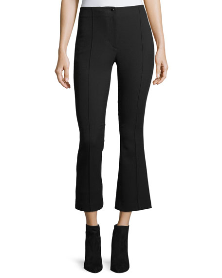 Helmut Lang Cropped Mid-Rise Flared Wool Pants and