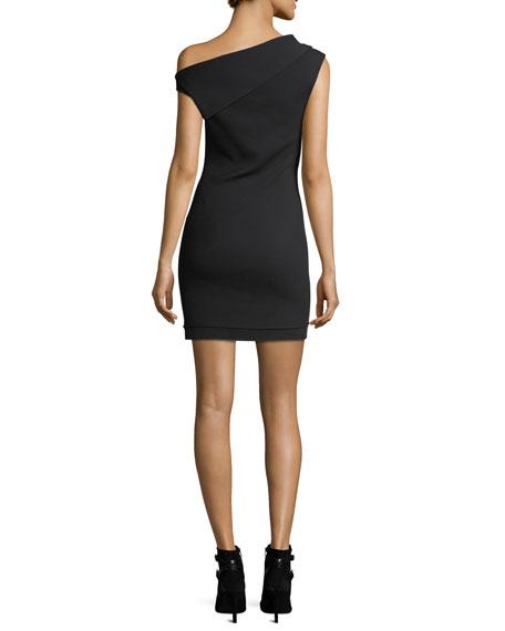Asymmetric Sleeveless Crepe Mini Dress