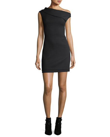 ASYMMETRIC SLEEVELESS CREPE MINI DRESS
