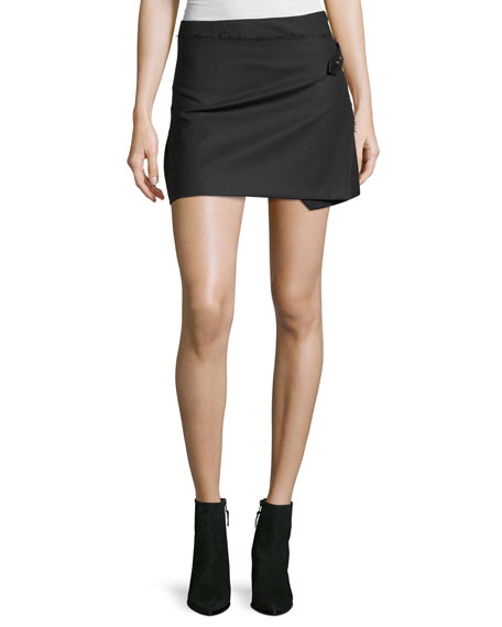 Helmut Lang A-Line Pleated Wrap-Front Wool Skirt