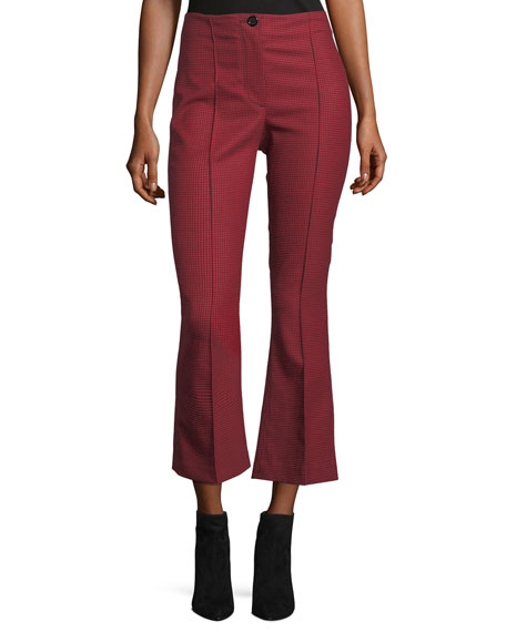 Helmut Lang Houndstooth Cropped Flared High-Waist Pants and