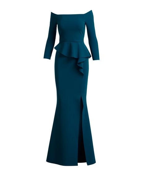 Adela Off-the-Shoulder Asymmetric Peplum Evening Gown