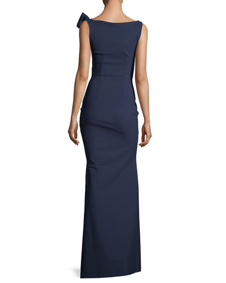 Shoko Bow-Shoulder Sleeveless Evening Gown