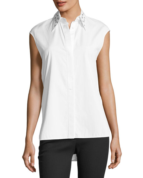 Helmut Lang Eyelet Sleeveless Button-Front Poplin Top