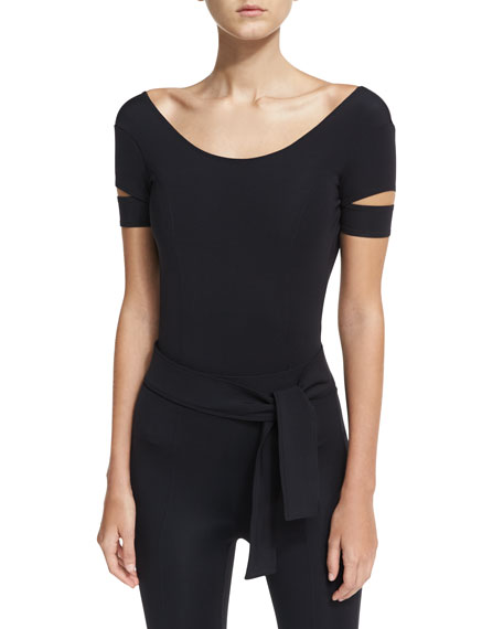 Helmut Lang Low-Back Slit-Sleeve Tech Bodysuit