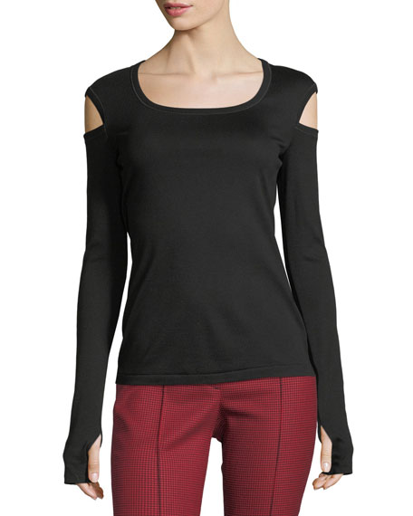 Helmut Lang Round-Neck Slash Long-Sleeve Cotton Tee