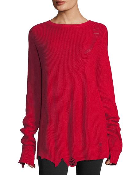 Distressed Crewneck Long-Sleeve Wool Sweater