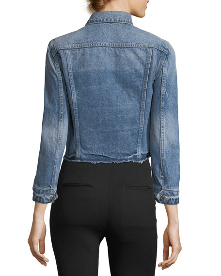 Tacked Shrunken Faded Denim Jacket