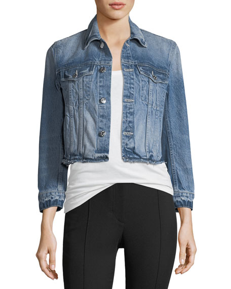 Helmut Lang Tacked Shrunken Faded Denim Jacket