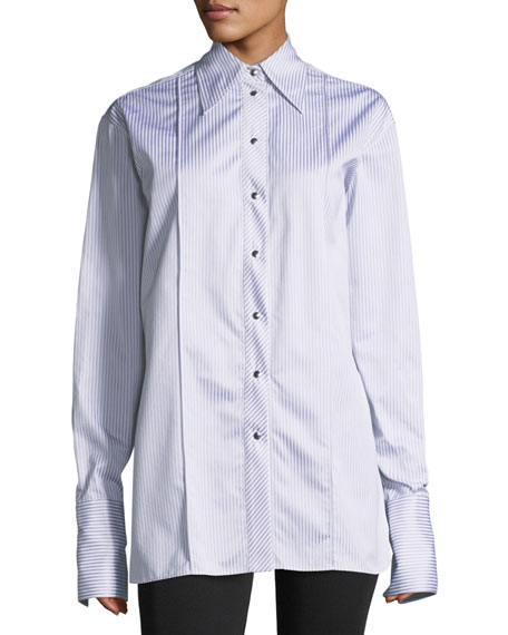 Helmut Lang Long-Sleeve Striped Oversized Button-Front Shirt