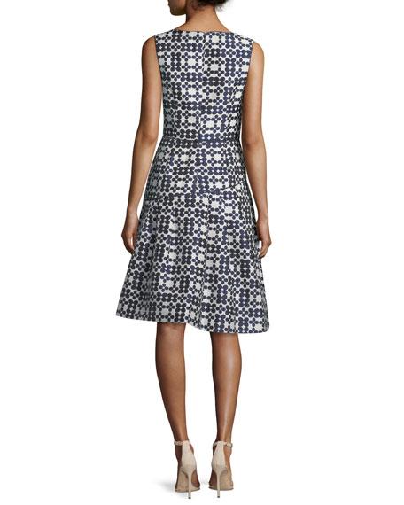 High-Neck Sleeveless Daisy Jacquard Cocktail Dress