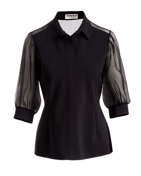 Cordelia Organza-Sleeve Blouse