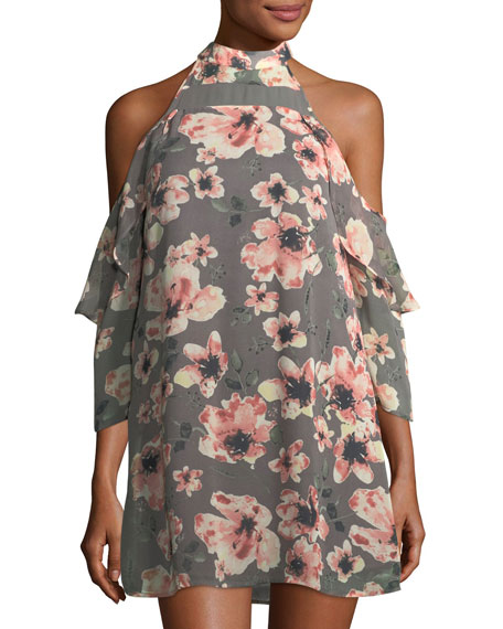 19 Cooper Floral-Print Cold-Shoulder Dress