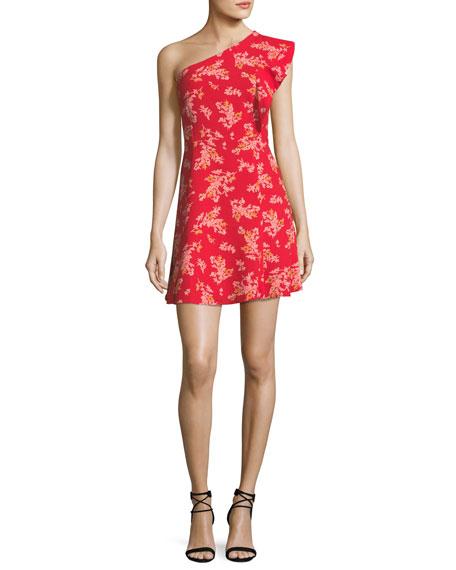 Floral-Print One-Shoulder Dress
