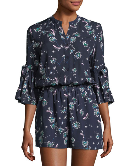 Collective Concepts 3/4-Sleeve Floral-Print Romper