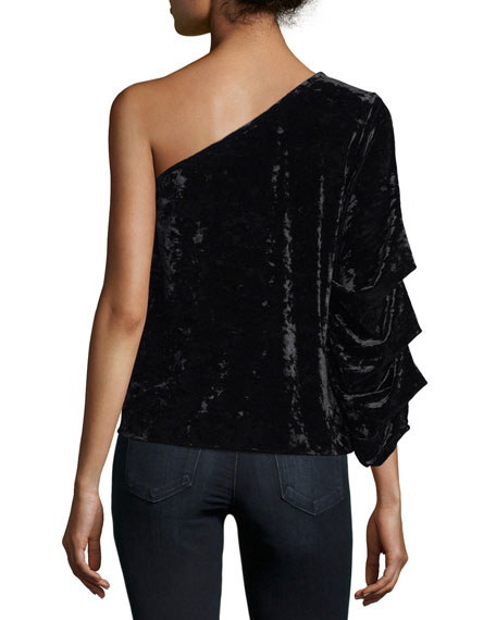 One-Shoulder Velvet Blouse